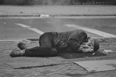 Homeless man on Philadelphia street, late 1970s.