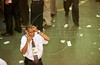 A stock trader works on the floor of the Sao Paulo stock exchange (BOVESPA). (Douglas Engle/Australfoto)