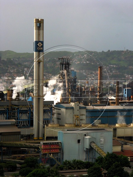 The Companhia Siderurgica Nacional (CSN) in Volta Redonda, in the state of Rio de Janeiro, Brazil, Thursday, March 13, 2003. CSN, which began operations in 1946 and privatized in 1993, is Brazil's oldest integrated steel producer in Brazil and boasts being the largest in Latin America. The establishment of CSN paved the way for Brazil's current industrialization. It is the only tin-plate producer in Brazil. With low production costs and huge reserves of iron ore, Brazil replaced Mexico as the number 2 US steel supplier in 2002, after Canada. (Australfoto/Douglas Engle)