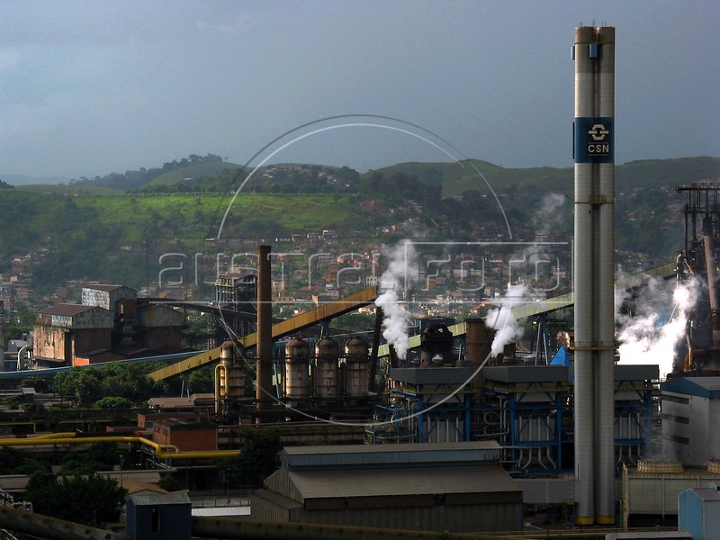 A view of the Companhia Siderurgica Nacional (CSN) in Volta Redonda, in the state of Rio de Janeiro, Brazil, Thursday, March 13, 2003. CSN, which began operations in 1946 and privatized in 1993, is Brazil's oldest integrated steel producer in Brazil and boasts being the largest in Latin America. The establishment of CSN paved the way for Brazil's current industrialization. It is the only tin-plate producer in Brazil. With low production costs and huge reserves of iron ore, Brazil replaced Mexico as the number 2 US steel supplier in 2002, after Canada. (Australfoto/Douglas Engle)