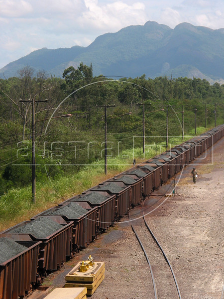 """A trainload of Iron Ore rolls into the Companhia Siderurgica de Tubar‹o (CST) in Serra, an industrial suburb of Vitoria in Brazil's coastal Espirito Santo state, Tuesday, March 11, 2003. The train brings in raw materials from neigboring Minas Gerais state and CST exports semi-finished steel (slabs) from a nearby port, earning a 20 percent share of the world market.  The company, which began operations in 1983 and was privatized in 1992, also recently inaugurated a """"hot strip"""" mill as well for the domestic market. California Steel Industries is one of the partners along with Brazilian and Japanese investors. 49 percent of their slab exports go to North America while 23 percent go to Europe, 21 percent to Asia and seven percent to South America. With low production costs and huge reserves of iron ore, Brazil replaced Mexico as the number 2 US steel supplier in 2002, after Canada.(Australfoto/Douglas Engle)"""