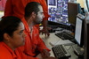 Engineers in the control room of the Petrobras P51 platform, billed as the largest in the world, under construction in Angra dos Reis, about 2 hours west of Rio de Janeio, Brazil. The platform is a landmark for Brazilian naval construction - it is the first semi-submersable built entirely in the country and will have 70% Brazilian components when finished.  The P51, the P52, which is already operating, and the future P56 all come from the same basic design and have given new life to the once dormant shipyard. As the price of oil continues to rise and Brazil strikes more and more extremely deep offshore oil, workers hope to keep their jobs for many years to come.(Australfoto/Douglas Engle)