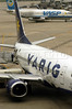 A Varig Airlines jet at the Rio de Janeiro International Airport, RJ, April 5, 2004.(Douglas Engle/Australfoto)