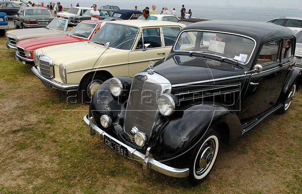 Many models of Mercedes Benz are displayed at Forte de Copacabana (Copacabana Fort) in Copacabana beach, during a annual exhibition of the Veteran Car Club do Brasil, Rio de Janeiro, Brazil, Set. 6, 2009. About 200 old cars participate at this annual meeting. (AustralFoto/Renzo Gostoli)