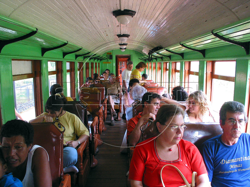 """Passengers aboard the historic """"Maria Fumaa"""" train await departure from Tiradentes, in the Brazilian state of Minas Gerais. The train, billed as the only active one in the world on 76cm guage track, uses a Baldwin locomotive and has made the 12km run between Tiradentes and Sao Joao del Rei, two historic cities non stop since 1881.(Australfoto/Douglas Engle)(Australfoto/Douglas Engle)"""