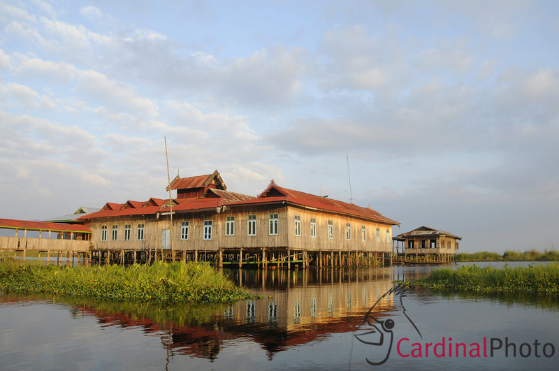 Local Village School on Stilts in Inle Lake showing reflection, Shan State, Myanmar (Burma), Southeast Asia