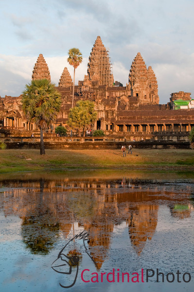 Angkor Wat Temple near sunset looking across the Southern Reflecting Pool. Angkor Temple Comples, Siem Reap, Cambodia, Asia