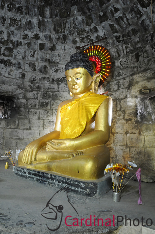 Golden Buddha Statue Sitting in Crypt under Dukkanthein Buddhist Temple at Mrauk U, Rakhine Division, Arakhan Kingdom, Myanmar (Burma), Southeast Asia