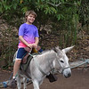 Luke riding donkey at coffee plantation