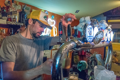 The Stray Dog BrewPub and Jason the ADHD barman/owner. Best beer in Ecuador