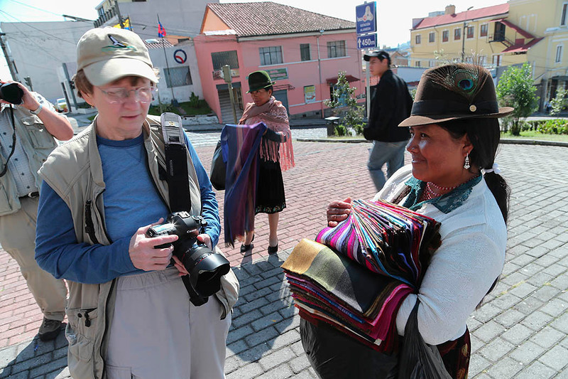 Becky with scarf vendor, Quito