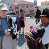 Becky with scarf vendor, Quito