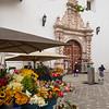 Flower market outside Carmen de la Asuncion Church, Cuenca, Ecuador