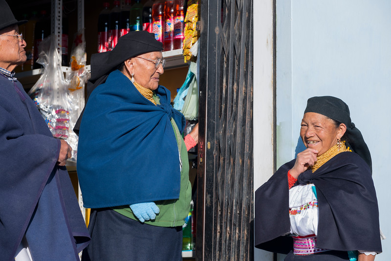 Indigenous people talking, Otavalo, Ecuador