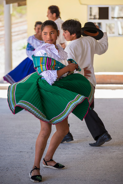 Folk dancers at Sibambe station, Ecuador