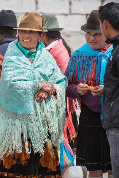 Indigenous people at market, Zumbahua, Ecuador.