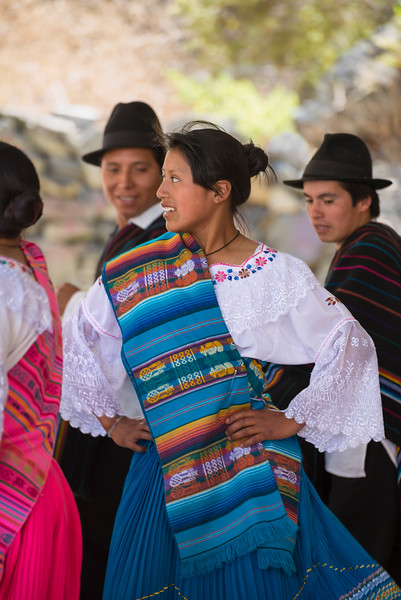 Folk dancers at Sibambe station, Ecuador