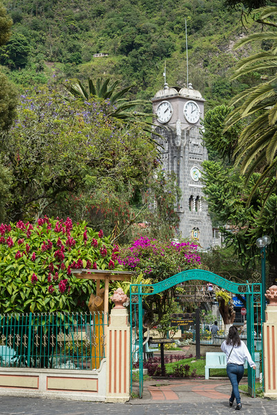 Central park and clock tower, Banos, Ecuador.