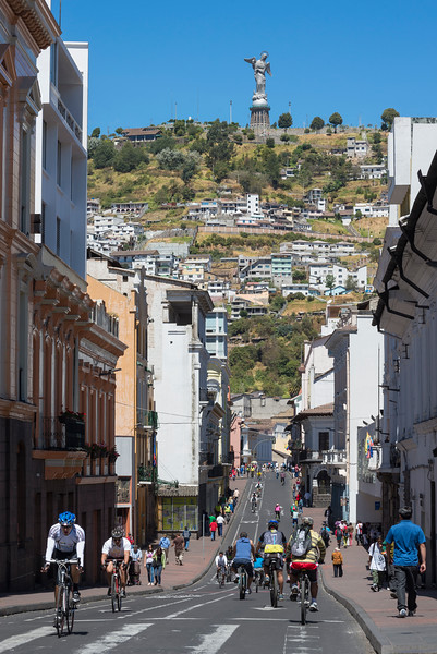 The weekly Ciclopaseo, where a route of 30 km is closed to motor vehicles, Quito, Ecuador