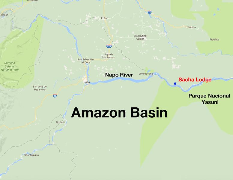Map - Amazon Basin in Ecuador