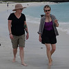 Alison and Bev walking along beach