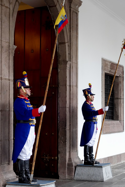 Guarding the Ecuadorian Presidential Palace