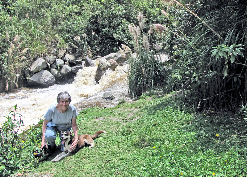 3/9/16 - Susan and friend in front of the tributary into the Chan Chan River. We walked up to this point along the road.