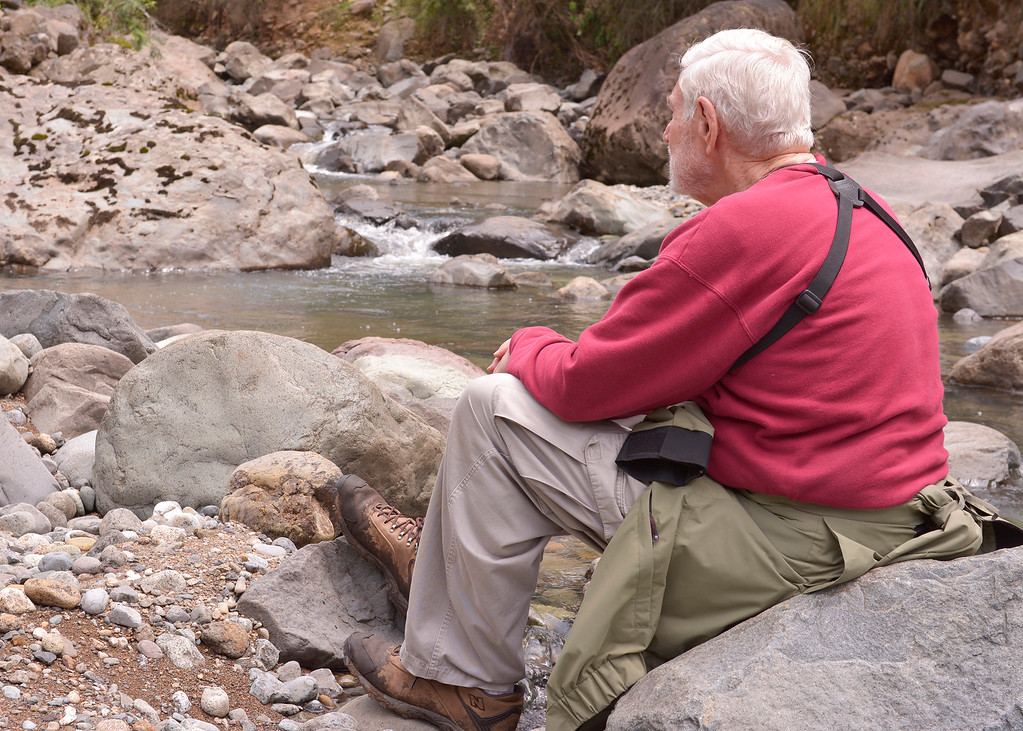 3/8/16 - Mike resting on a rock by the Chan Chan River.