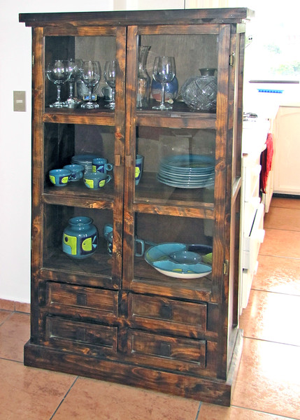 8/9/15 - This is the hutch we bought and it is just outside the kitchen. The laundry room door is to the left. The refrigerator and butcher block table to the right.