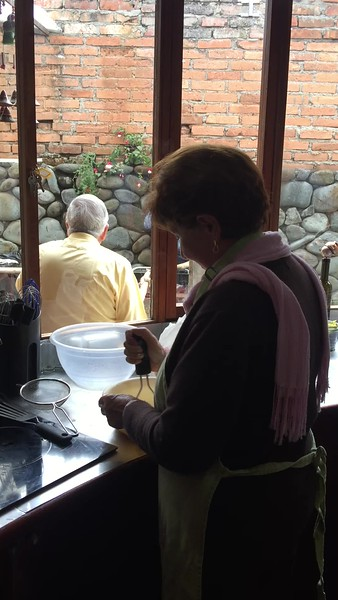 Rebe preparing Llapingachos