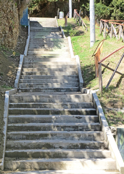 11/19/15 - The stairs are number, counting down as you climb up.  We are closing in on the end of the climb.