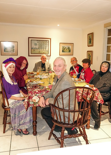 11/9/18 - Around the table, left to right. David as Bo Jalais, Lin as Clair Voyant, Burt as Father Al Fredo, Mike as Rocco Scarfazzi, Garry as Marco, Evelyn as Tara Misu and Kathy as Mama Rosa, Pepi's grieving widow. For 25 years, Mama Rosa cooked the pasta while Pepi greeted La Sperana's dinner guests.