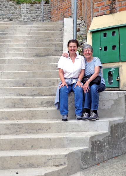 12/1/15 - Climbing the stairs to Turi with Jim and Kara Shea. Kara Shea and Susan at the start of the first section of stairs.