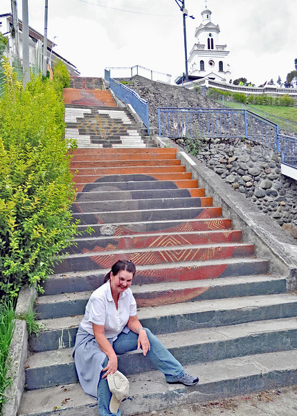12/1/15 - Climbing the stairs to Turi with Jim and Kara Shea. You are almost to the top, Kara Shea!