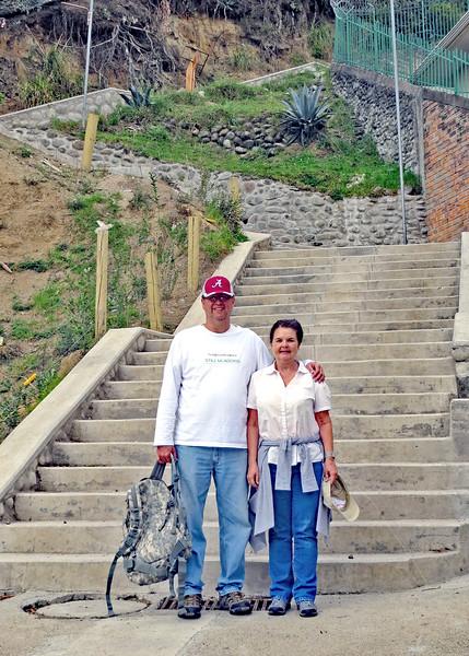 12/1/15 - Climbing the stairs to Turi with Jim and Kara Shea. Jim and Kara Shea at the start of the first section of stairs