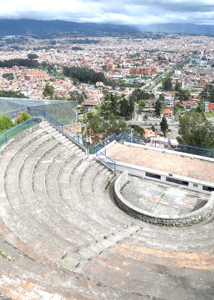 12/1/15 - Climbing the stairs to Turi with Jim and Kara Shea. Amphitheater and view of Cuenca.