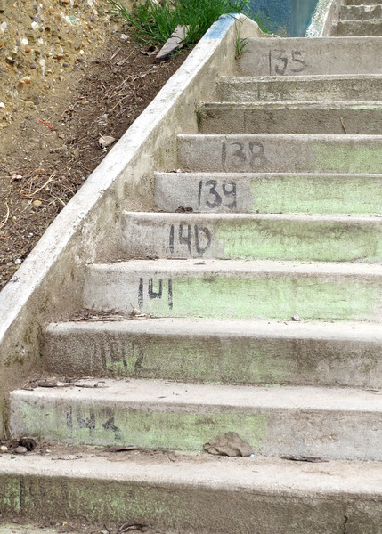 12/1/15 - Climbing the stairs to Turi with Jim and Kara Shea. The second set of stairs are numbered.