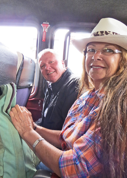"7/4/15 - The 4th of July BBQ fundraiser for Hearts of Gold Foundation was held at ""Ecuadorian Dude Ranch"" Caballo Campana.  George and Beck on bus to the BBQ."