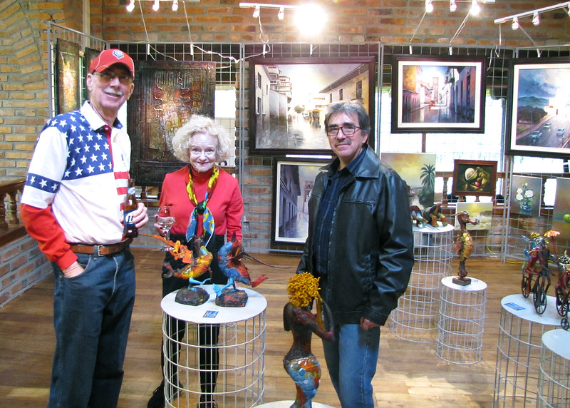 "7/4/15 - The 4th of July BBQ fundraiser for Hearts of Gold Foundation was held at ""Ecuadorian Dude Ranch"" Caballo Campana.  Loren and Nancy with artist, Miguel Illescas."