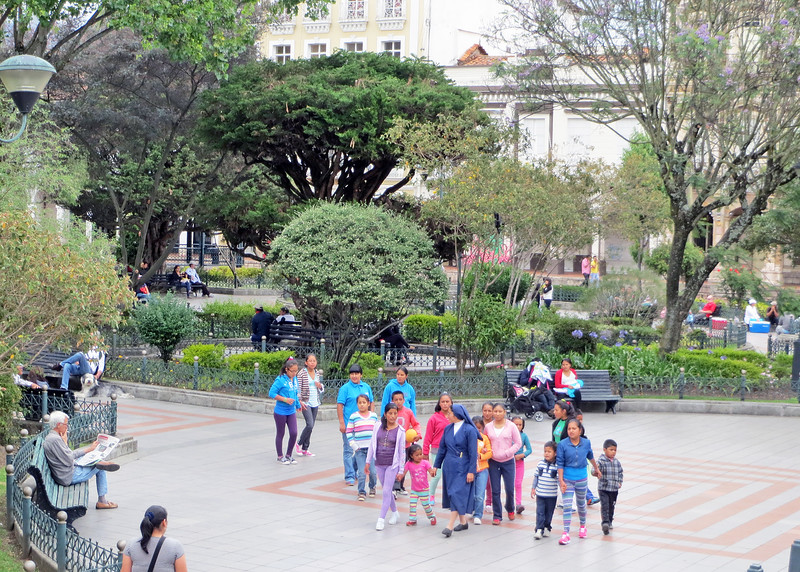 We took a bus tour of Cuenca today.   This is Parque Calderon in front of the cathedral in the middle of El Centro, the historic district.