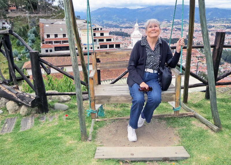 We took a bus tour of Cuenca today.    We climbed the stair to Mirador de Turi to get an even better view of Cuenca.  Susan sitting in the swing with the city behind her.