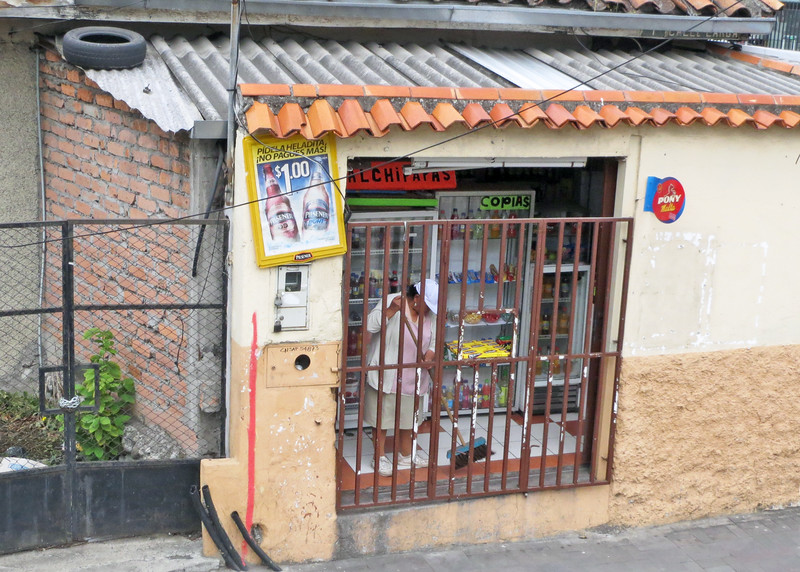 We took a bus tour of Cuenca today.   Cuenca is a very clean city.  Notice the lady sweeping the inside of her store.