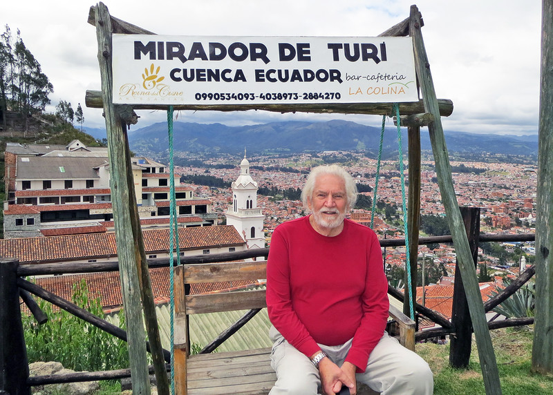 We took a bus tour of Cuenca today.   We climbed the stair to Mirador de Turi to get an even better view of Cuenca.  Mike sitting in the swing with the city behind him.