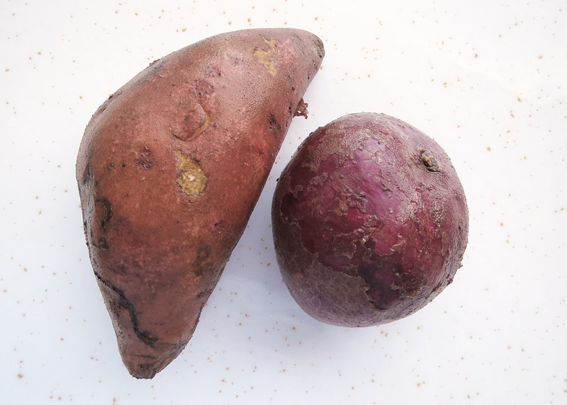 7/14/15 - Our regular orange sweet potato and a purple potato