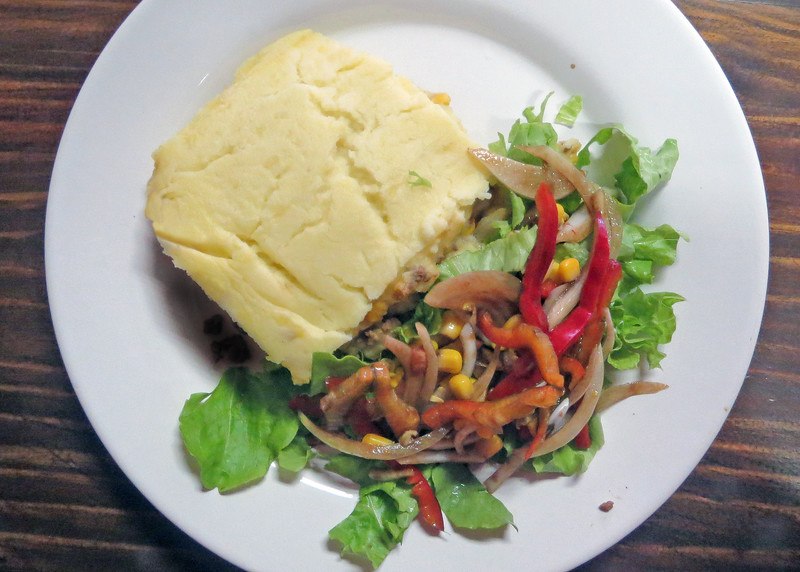 """8/24/15 - Common Grounds where guest chef, Dave Johnson made his """"world famous"""" Shepherd's Pie.  It was a treat for all where were there to enjoy."""