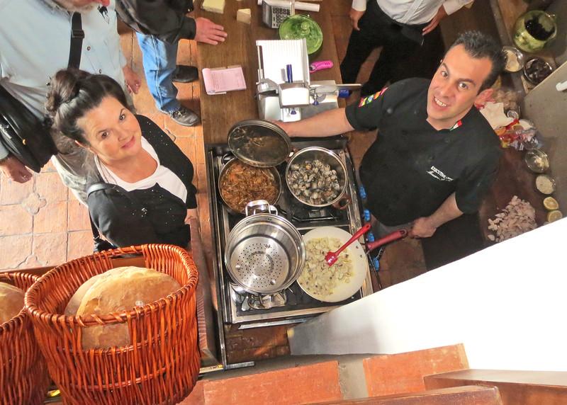 6/16/15 - Massimo right and customer at La Sorrentina/Gastronomi Italian, 17-79 Emilio Arevalo Y Miguel Heredia