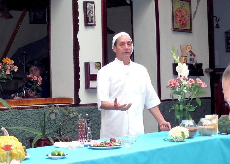 """6/28/15 - We attended a """"Lunch and Learn"""" at Quinoa Restaurant were we learned about cooking with the fresh fruits and vegetables here.  This is the chef at Quinoa."""