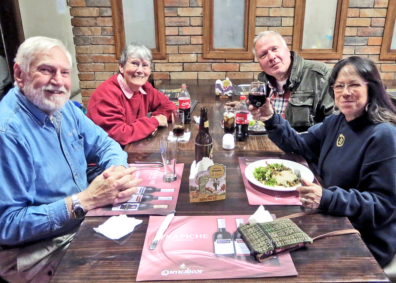 """8/24/15 - Common Grounds where guest chef, Dave Johnson made his """"world famous"""" Shepherd's Pie.  It was a treat for all where were there to enjoy. Mike, Susan, George and Linda enjoying the feast."""