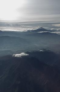 Cotopaxi 19,348 feet/5897 meters and Chimborazo 20,703 feet/6310 meters