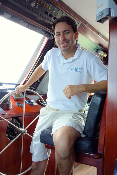Captain Pablo Salas at the helm of the M/Y Letty.